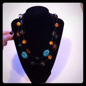 Long multi color necklace turquoise, brown, orange
